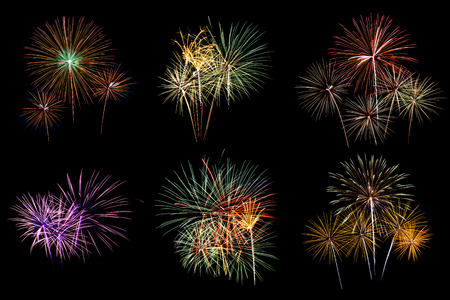 artifice: Colorful fireworks Set Stock Photo
