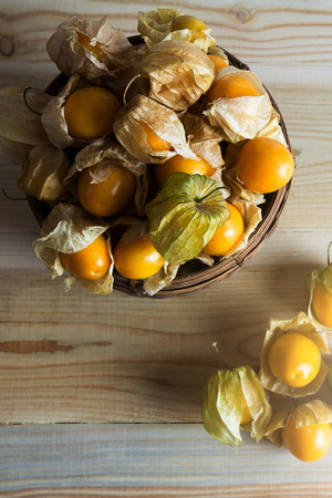 cape gooseberry: Closeup Cape gooseberry on wooden background