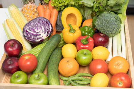 Healthy and nutrition concept.Close up fresh fruits and vegetables. Stock Photo