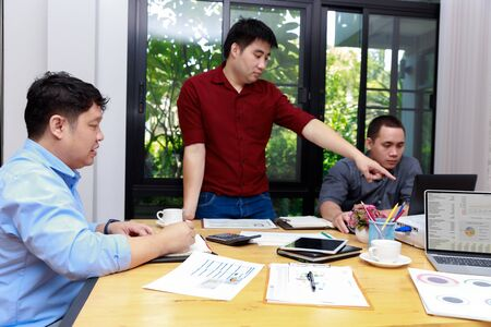 Small and Medium Enterprise Business concept of ,Businessman presenting investment plan to his partner in office.