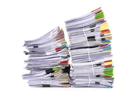 Stack of business papers isolated on white background