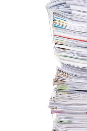 Stack of business papers isolated on white background Standard-Bild