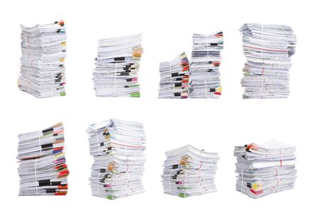 Set of Stack business papers isolated on white background Standard-Bild
