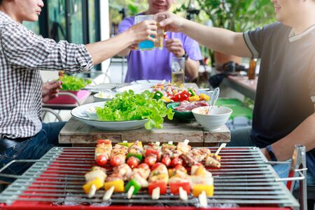 Close up barbecue grill with various kinds of meat. Standard-Bild