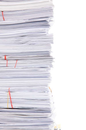 Stack of business papers isolated on white background Stock Photo