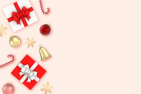 3d render Christmas Background.two Gifts box,snowflakes,candy,bells,christmas ball and gold decorations on pink background. Christmas, new year concept.top view, copy space Stok Fotoğraf