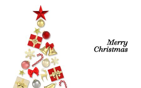 3d render Christmas Background. Gifts box,red star,snowflakes, candy, bells,christmas ball and gold decorations on white background with text.