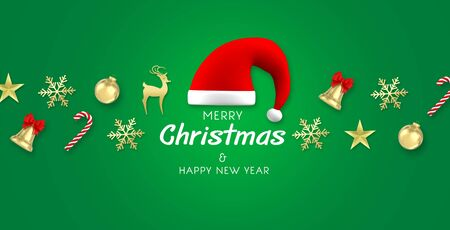 3d render Christmas Background. santa claus hat,snowflakes,gift, candy, bells, star and christmas ball on green background with text.top view.