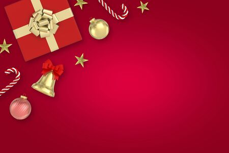 3d render Christmas Background.red Gifts box, candy, bells, star, christmas ball on red background.top view