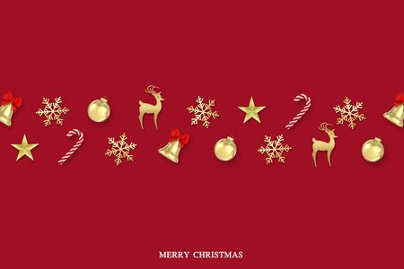 3d render Christmas Background.snowflakes,candy,bells,christmas ball and gold decorations on red background with text merry christmas.top view