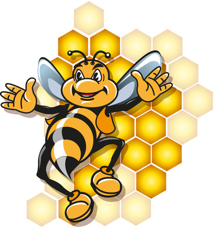 flew: Honey bee mascot jumping flew with cheerful