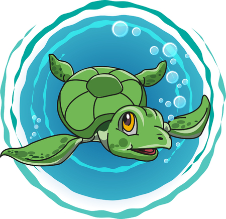 green turtle: Vector, cute green turtle