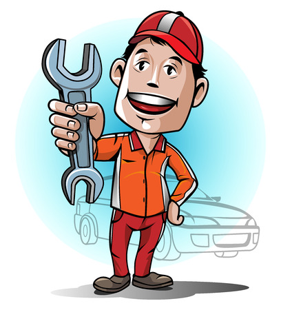 auto service: Mascot auto Mechanic service center Illustration