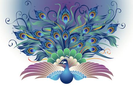 Pavo real, una forma modificada de pavos reales que fueron Batiendo las dos alas y la cola colgando todas las direcciones en el estilo decorativo que se parece más atractiva.