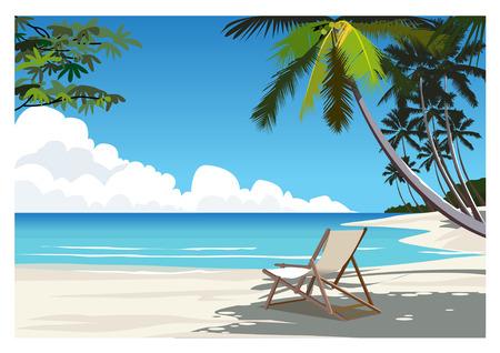 white sand beach: Charming Tropical Beach Scene