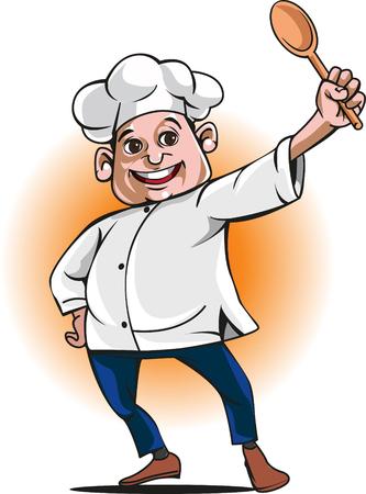 Vektor maskot mistr kuchař nebo sporák Ilustrace