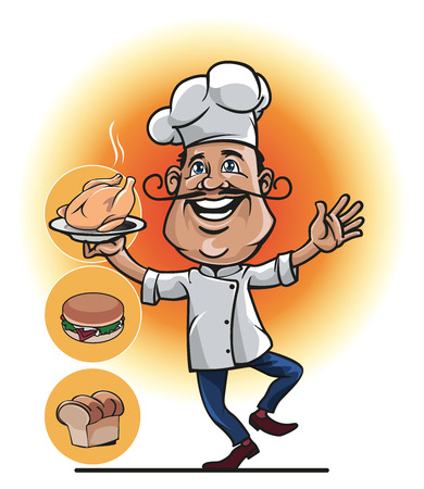 uniformity: Mascot a chef or cook with roasted chicken in his hand and the two other options, namely bread and burgers.