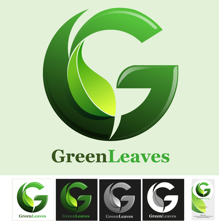 Abstract letter G for Green leaves symbol Illustration
