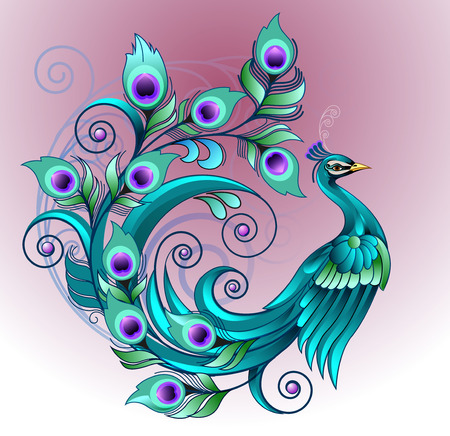 Vector illustration beautiful peacock 向量圖像