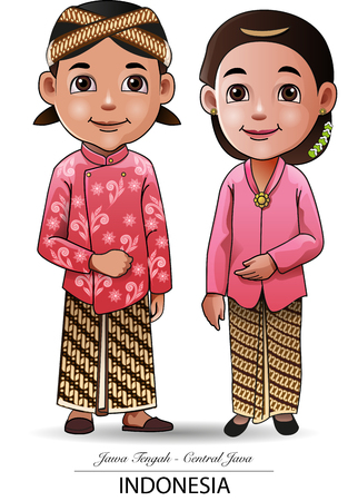 Vector illustration, Javanese traditional cloth 일러스트