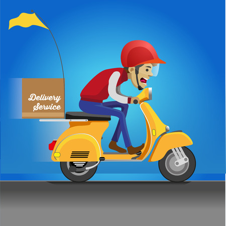 Vector illustration of a service delivery driver riding a motorcycle driving his vehicle.