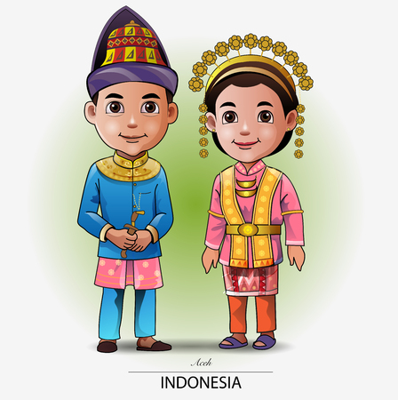 Vector illustration, Aceh traditional clothing or costume. Ilustração