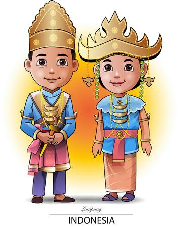 Ilustración vectorial, vestimenta o vestuario tradicional de Lampung.