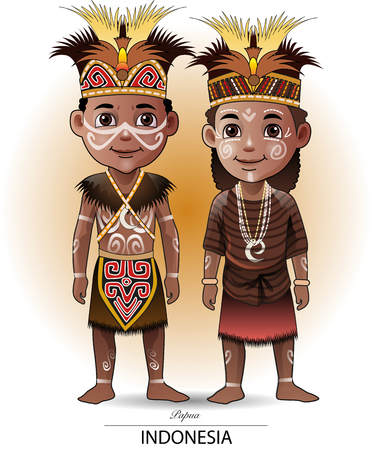 Vector illustration, Papua traditional clothing or costume.