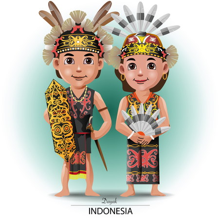 Vector illustration, Dayak nor Kalimantan traditional cloth Ilustração