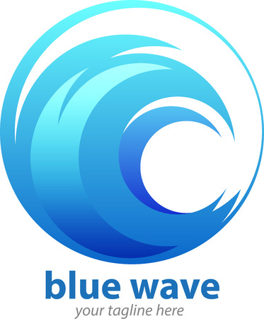 Vector abstract, blue wave symbol