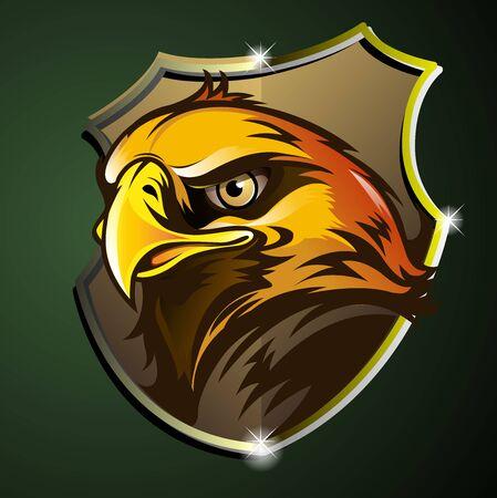 Vector illustration of an eagle or Garuda head emblem.