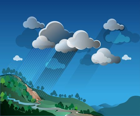 vector illustration, natural landscape with cloud and rain atmosphere.