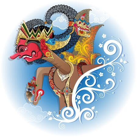 Vector illustration, Modification Gatutkaca shadow puppets character. Illustration