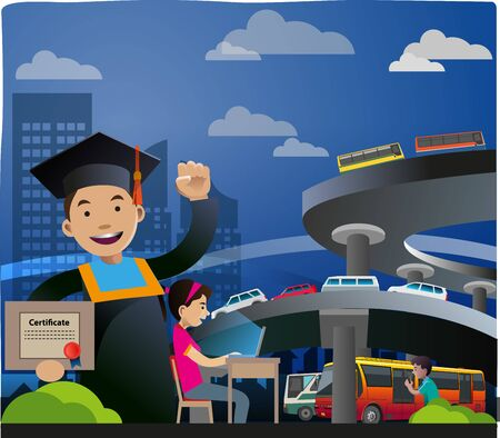Vector illustration, a boy is celebrating graduation, with a building and overpass or urban atmosphere background.
