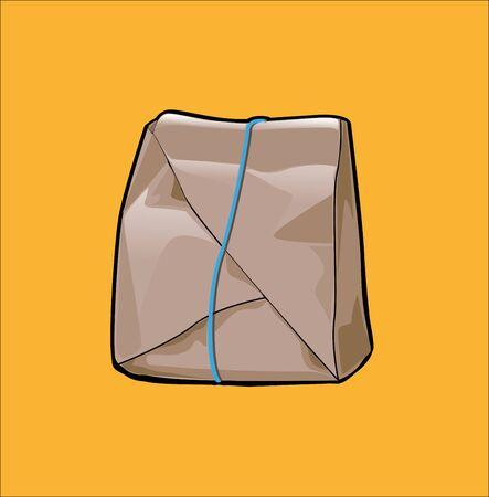 Illustrazione vettoriale, impacco di riso, una forma di servire cibo contenente riso con diversi contorni in esso. Vettoriali