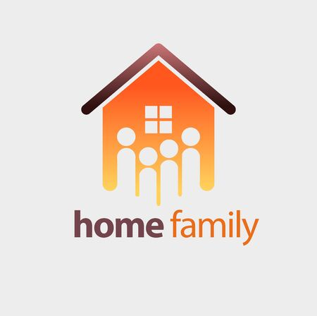 Vector abstract, modification of house shape and family icon as a symbol of housing or real estate. Illustration