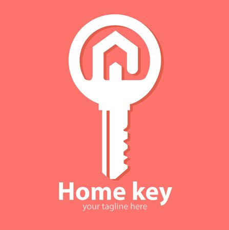 Vector abstract, Real estate concept with house and key symbol.