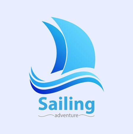 Vector abstract, Sailing adventure symbol;