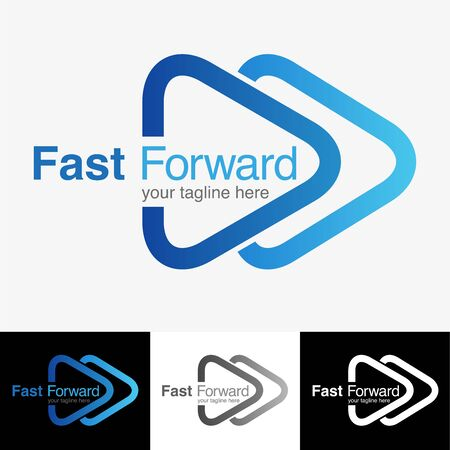 Vector abstract, fast forward logo or symbol. Illustration