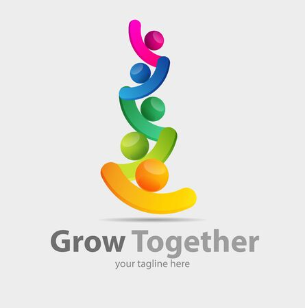 Vector abstract, grow together symbol or logo business