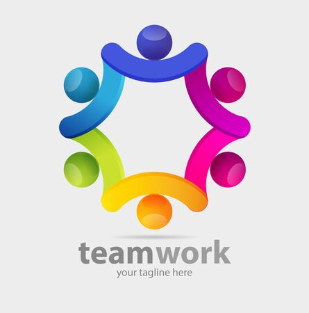 Vector abstract, teamwork symbol or logo business