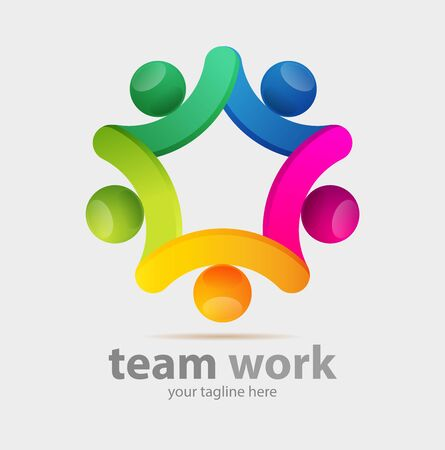 Vector abstract, teamworks symbol or logo business Illustration