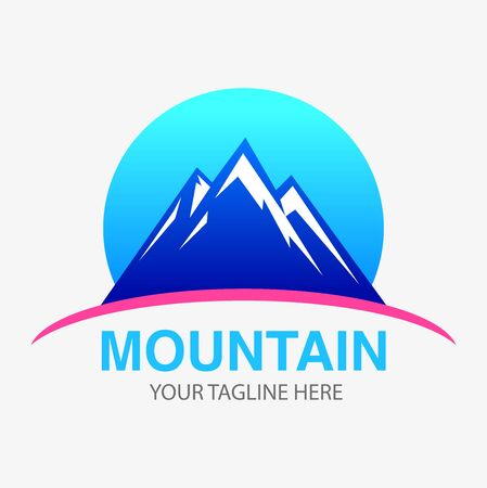 Vector abstract, blue mountain symbol or logo. Illustration