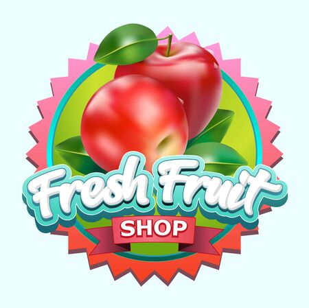 Vector illustration, fresh fruits shop symbol. Illustration
