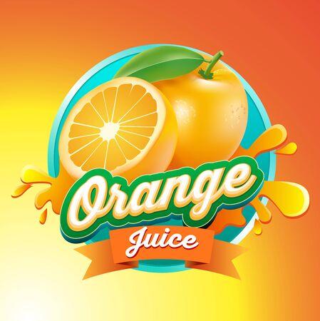 Vector illustration, orange juice symbol or icon.