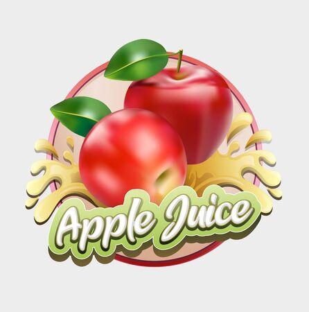 Vector illustration, apple juice symbol.