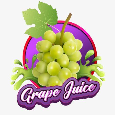 vector illustration, grape juice for beverage product labels.
