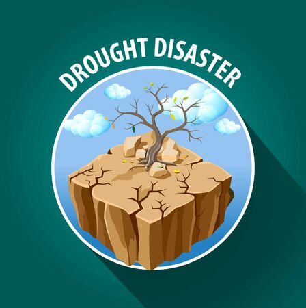 Vector illustration, drought disaster icon or symbol. Illustration