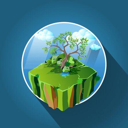 Vector illustration, rainy season icon or symbol.