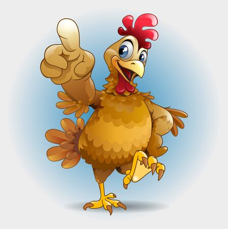 Vector illustration, a chicken showing you something.